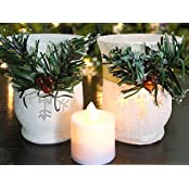 Christmas Candle Holders Set Of 2 Red Berries And Garland Wrap White Glittery Candle Holders 2 Flameless Votive...