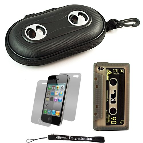 Black Portable Hard Cover Shell With Integrated Speakers & Silicone Cassette Skin For Apple Iphone 4 ( 4Th Generation 16Gb 32Gb - At&T And Verizon ) + Includes Anti Glare Screen Protector Guard