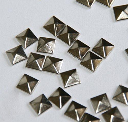 Gleader100pc Hotfix Iron On, 7mm Flat Back Silver Pyramid Studs - 1/4 FlatBack Glue on Studs by Gleader