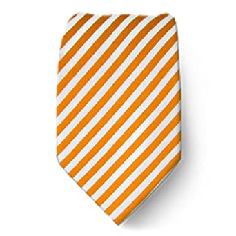 Orange - White Fashion Necktie - By The-Perfect-Necktie