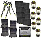 Goal Zero Ultimate Yeti 1250 Solar Generator Kit with cart, (8) Boulder 30 solar panels, (4) panel carrying cases, (2) Solar Tripod (holds 4 panels), (6) Lighthouse 250's, (20) Boulder Clips, (1) 8mm 30' Ext. Cable, (2) 8mm 4x Combiner