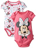 Disney Baby Baby-Girls Newborn Minnie Mouse 2 Pack Bodysuit, Pink, 6-9 Months
