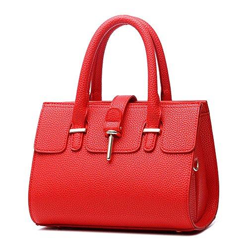 Koson-Man-crosta di Litchi-Borsa Tote Bags maniglia superiore, rosso (Rosso) - KMUKHB206