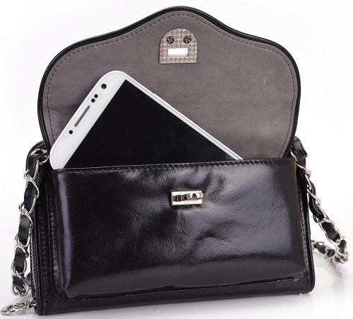 Special Sale Kroo Carri 2in1 Mini Crossbody Wallet with Smartphone Compartment for Apple iPhone 5 5C 5S Mobile - BLACK + Envydeal Velcro Cable Tie