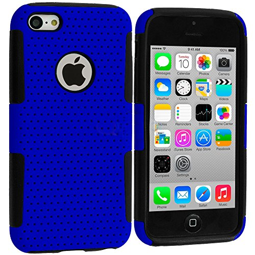 Mylife Royal Blue + Black Layered (Slim Mesh Armour Suit) Hybrid 2 Layer Case For New Apple Iphone 5C Touch Phone (Slim Outer Shock Resistant Mesh Fitted Rubber + Soft Grip Internal Silicone Bumper Gel)