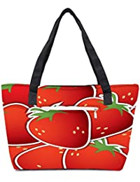 Pack Of 2 Strawberry Sticker Background Card In Vector Format Combo Tote Shopping Grocery Bag With Coin Pencil...