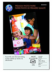 HP Premium Photo Paper, Glossy (100 Sheets, 4 x 6 Inches with Tab)