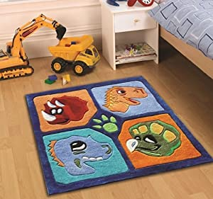 Kid's Soft Thick Blue Square Dinosaur Multi Colour Fun Rug 90 x 90cm from The Rug House