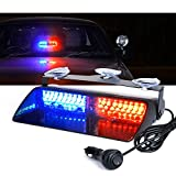 Xprite Red & Blue 16 LED High Intensity LED Law Enforcement Emergency Hazard Warning Strobe Lights for Interior Roof/Dash / Windshield with Suction Cups