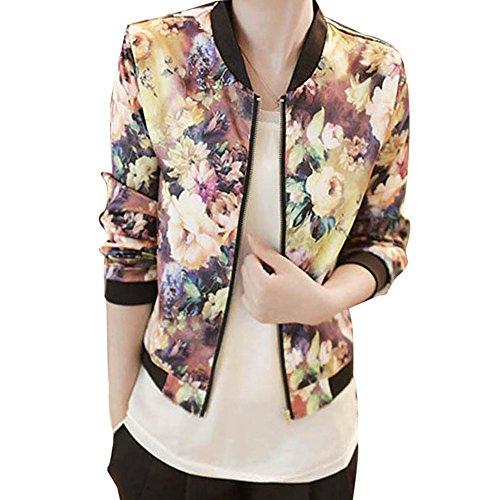 """Elegante Giacche, Reasoncool Donne stand colletto a maniche lunghe Zipper floreale Bomber Jacket Stampato (M-Busto:37.8"""", Multicolore)"""