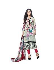 White Digital Printed Casual Cotton Salwar Suit