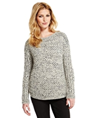 Indigo Collection Textured Jumper with Wool