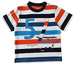 Short Sleeve Striped T-Shirt With Print & Applique 100% Cottn Single Jersey (Fit To 80-86 Cms)