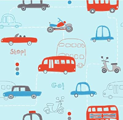 Hoopla Vehicle Transport Road Map Childrens Bedroom 10m Wallpaper Roll Decor Art from DECORLINE
