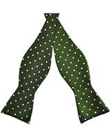 PenSee Mens Jacquard Woven Silk Self Bow Tie Green & White Ploka Dot Bow Ties