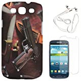 DMG Night Glow Hard Back Cover Case For Samsung Galaxy S3 Neo GT-I9300I (Pistol) + White Earphones + Matte Screen...