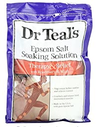 Dr Teal\'s Pure Epsom Salt Soaking Solution Rosemary and Mint 3 lbs(Pack of 2)