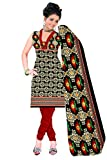 Parinaaz Fashion Black Print Crepe Unstitched Straight Salwar Suit dress material