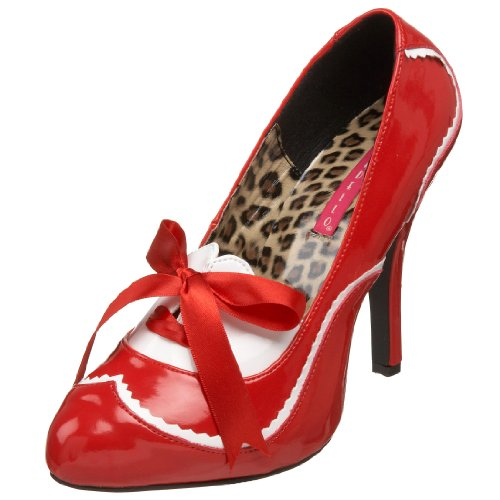 [Bordello by Pleaser Women's Tempt-02 Pump,Red White Patent,6 M US] (The Red Shoes Halloween Costume)