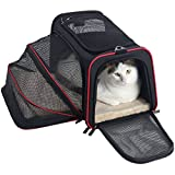 """Petsfit 19""""x12""""x12"""" Expandable Foldable Washable Travel Carrier, Airline Approved Pet Carrier Soft-sided (Black)"""
