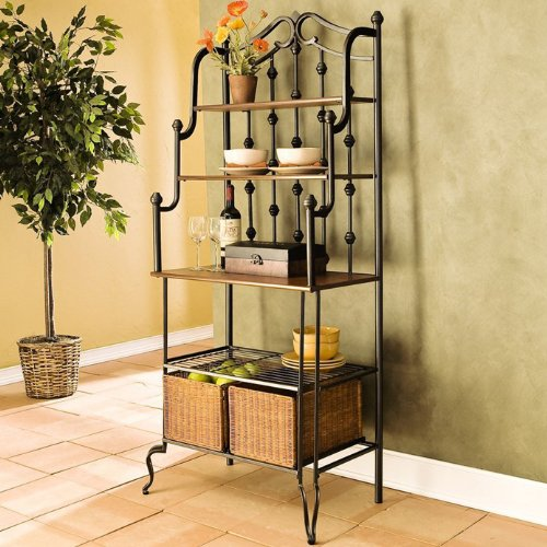 Addington Storage Baker's Rack.This Home Kitchen Free Corner Standing organizer is ideal for Living Room Entryway.It has 4 shelves of varying sizes,a large tabletop work space, and 2 spacious rattan baskets to suit your needs by Wildon Home®