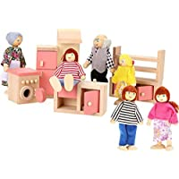 Imoomi Great Gift For Kids Happy Family Dolls Set 6 People & Doll House Furniture Pink Kitchen 5 Piece Wooden...