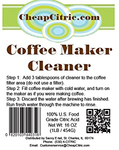 Safest Coffee Maker Cleaner and Descaler by Cheap Citric