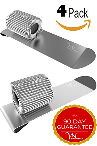 4 PACK SECURE Pen Holder Clip - FITS ALMOST ANY PEN SIZE - Have a Pen at hand EVERYWHERE - DURABLE Electroplated Metal - Great Finish - for Office or Home (Writing Center Caddy compare prices)