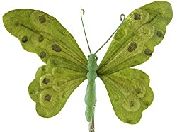 "10"" Green Velvet Butterfly Christmas Clip-on Ornament"