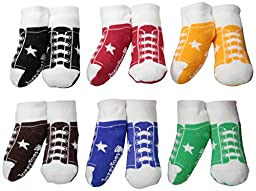 JazzyToes Baby 6 Pair Socks Sneakers - Boys, 0-12 Months