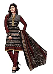 Aarti Apparels Women's Cotton Unstitched Dress Material _MAHARANI-08_Black and Brown
