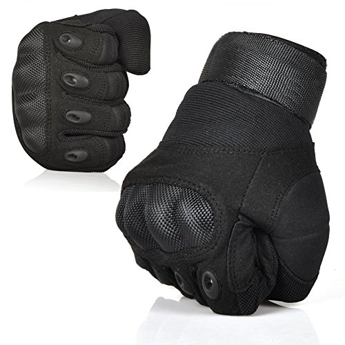 Fantastic Zone Ventilate Wear-resistant Tactical Gloves Hard Knuckle and Foam Protection for Shooting Airsoft Hunting Cycling Motorcycle Gloves Men's Outdoor Half & Full finger Gloves Black L