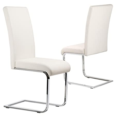 Conjunto de 2 tinxs elegante blanco IMITACIÓN CUERO duradero Silla de Comedor con patas cromadas y espalda alta cocina y muebles de comedor