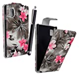 STYLEYOURMOBILE {TM} LG OPTIMUS L9 P760 PINK FLOWER DARK GRAY PU LEATHER MAGNETIC FLIP CASE COVER POUCH + TOUCH PEN