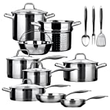 Duxtop Professional Stainless-steel 17-piece Induction Ready Cookware Set Impact-bonded Technology