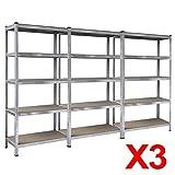 Popamazing 1/2/3/4/5 Pieces 5-Tier MDF Boltless Rubber Feet Storage Shelfs Industrial Metal Shelving Warehouse Storage Racking--Massive 875Kg Capacity (Set of 3)