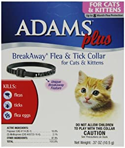 """Adam Plus Breakaway Flea & Tick Collar for Cats and Kittens, 13"""", Black"""