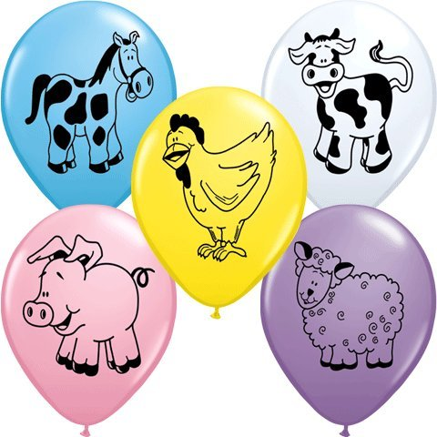 """PIONEER BALLOON COMPANY 5 Count Assorted Round Farm Animal, 11"""""""