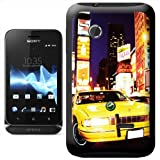 Yellow Taxi Cab in New York Times Square USA Hard Case Clip On Back Cover For Sony Xperia TIPO