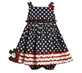 Bonnie Baby Infant Girls Navy White Polka Dot 4th of July Cotton Dress, 18 Months