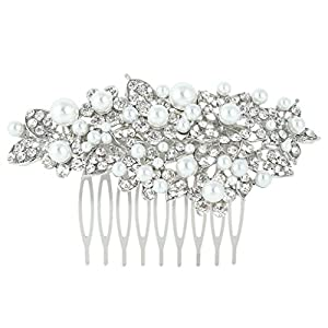 Ever Faith Wedding Hibiscus Simulated Pearl Hair Comb Clear Austrian Crystal Silver-Tone N03534-1