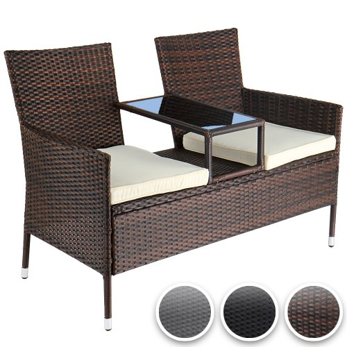 gartensofa polyrattan gartenbank mit ablagetisch inkl. Black Bedroom Furniture Sets. Home Design Ideas