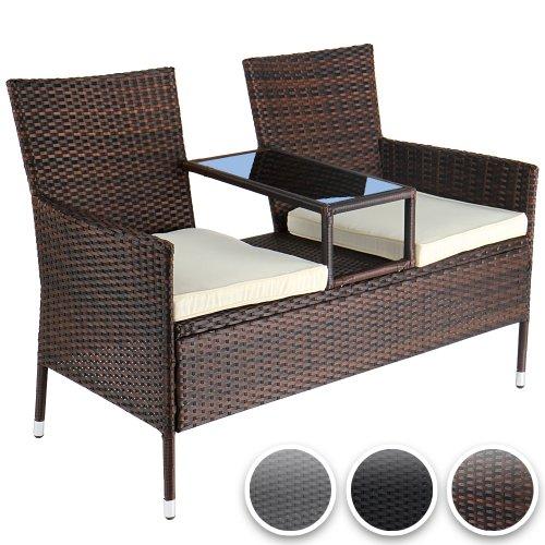 gartensofa polyrattan gartenbank mit ablagetisch inkl sitzkissen farbwahl. Black Bedroom Furniture Sets. Home Design Ideas