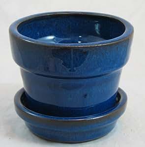 amazoncom glazed ceramic potsaucer blue 4 38quot x 4