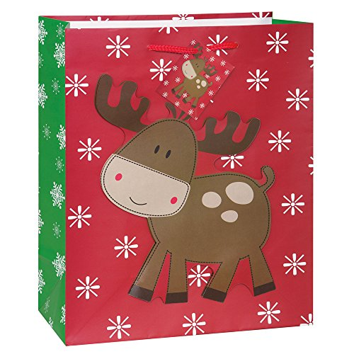 Large Stitched Reindeer Christmas Gift Bag
