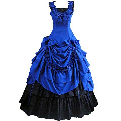 Partiss Damen ärmellose Ballkleid gotische Lolita Abendkleid mit Bowknot für die Hochzeit(S,Blue)
