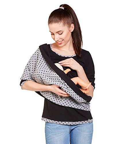 Be Mama! 3in1 Umstands-T-Shirt, Still-T-Shirt und Stillschal im Set: TEMI, kurzarm, schwarz-grau, L