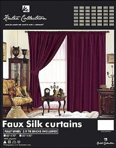 Vin/prune/90x 90Paire de rideaux plissés imitation soie entièrement doublés avec ruban de Disponible en 10couleurs