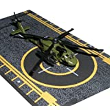 Hot Wings Black Hawk Helicopter with Connectible Runway Die Cast Plane Model Airplane, Green (Color: Green)