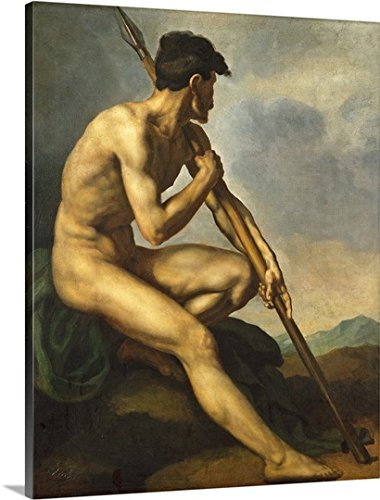 Theodore Gericault Premium Outdoor Canvas Wall Art Print entitled Nude Warrior with a Spear, c.1816